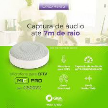 MICROFONE PROFISSIONAL PARA CFTV  COBERTURA 5M GS0072 MULTILESAR